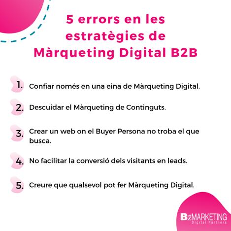 5 errors en les estratègies de Màrqueting Digital per empreses B2B BizMarketing
